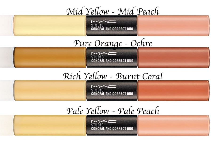 MAC Studio Conceal and Correct Duo Review Swatches Demo All Shades Mid Yellow Peach Pure Orange Ochre Rich Yellow Burnt Coral Pale Yellow Peach