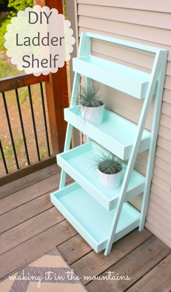 Outdoor Ladder Shelves: Repurposed ladder shelf diy ...