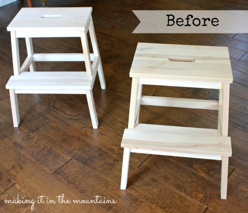 Before Ikea Stool Makeover @ making it in the mountains