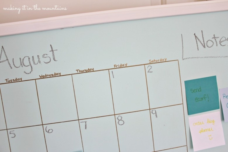 DIY Aqua Chalkboard Calendar with Sharpie