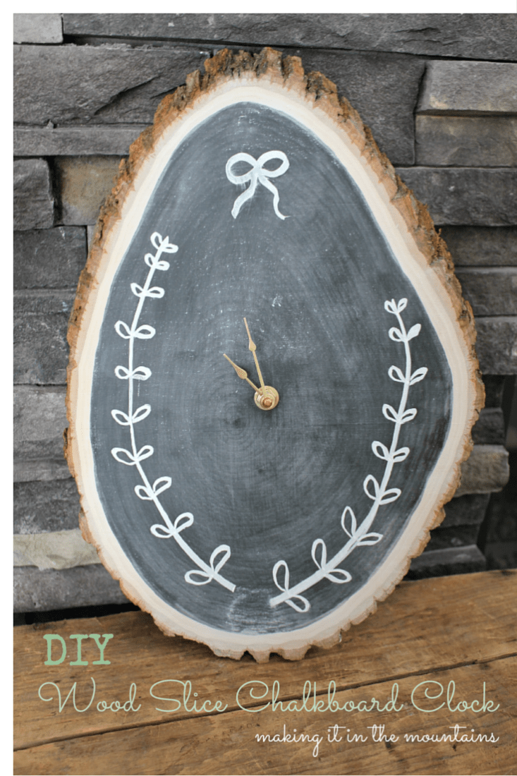 DIY Wood Slice Chalkboard Clock :: making it in the mountains