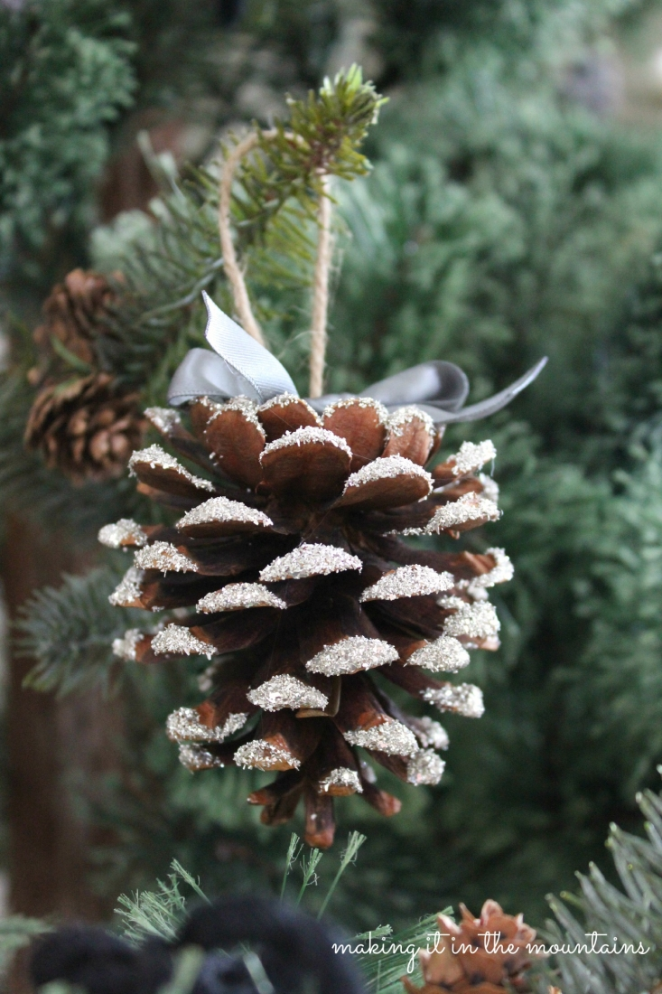 Glass glitter pine cones making it in the mountains for Pine cone ornaments