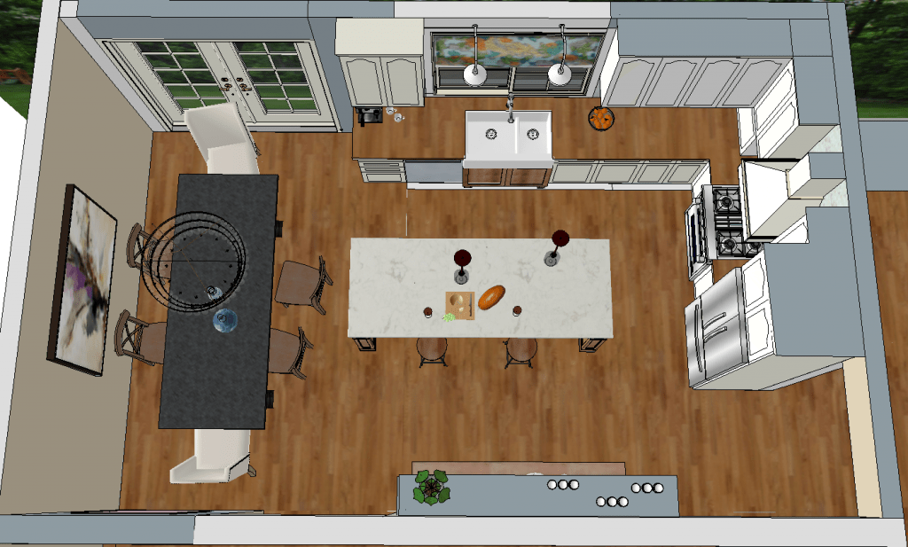 Dream kitchen design with dezignable making it in the for Kitchen plan view