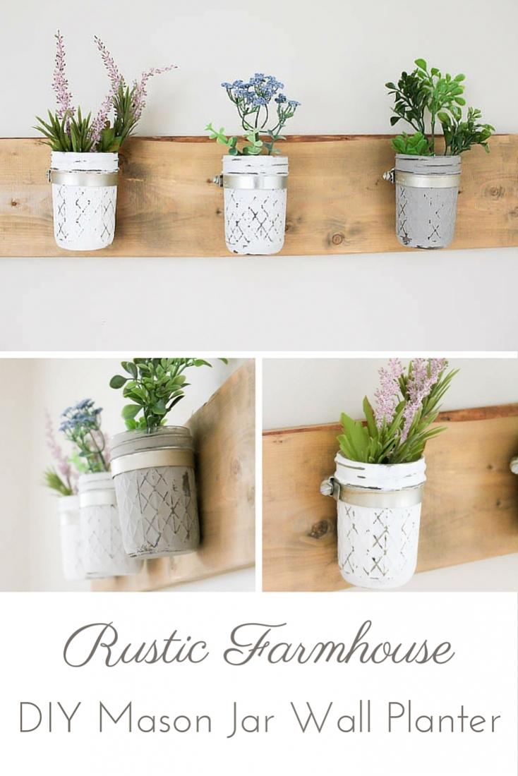 DIY Rustic Farmhouse Mason Jar Planter   www.makingitinthemountains.com