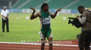Caster Semenya after winning GOLD at the 2015 African Games in Congo Brazzaville