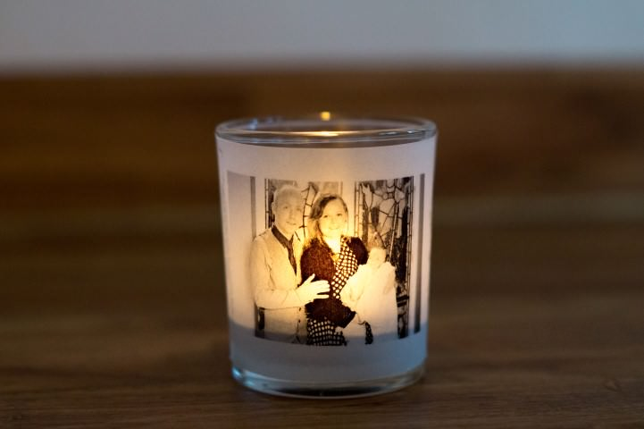 Make an illuminated photo votive candle making your own for Create your own candle holder