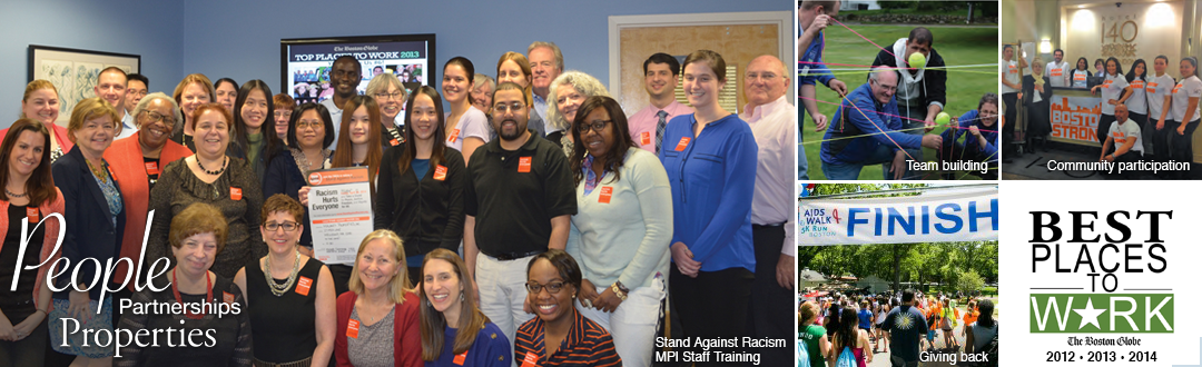 People, partnerships, and properties. MPi team photos include Stand Against Racism training, AIDS Walk.