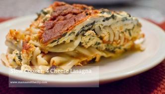 Slow Cooker 4 Cheeses Lasagna