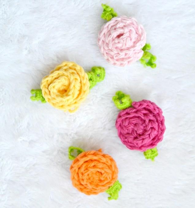 little crochet deco roses. Black Bedroom Furniture Sets. Home Design Ideas