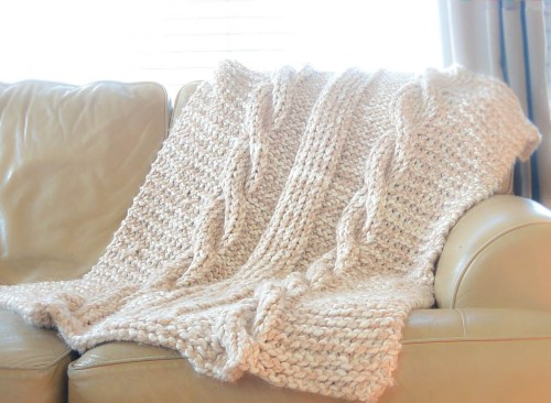 Medium Of Cable Knit Blanket