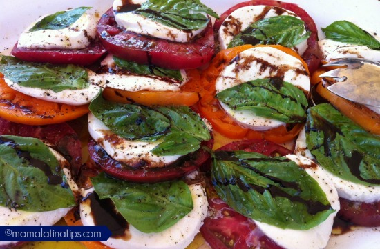 Heirloom Tomatoes with mozzarella mamalatinatips