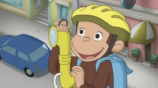 "Curious George on ""Double-Oh-Monkey Tracks Trouble"" episode"
