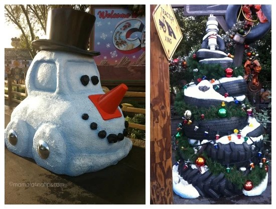 Snowcar and Christmas tree at Cars Land