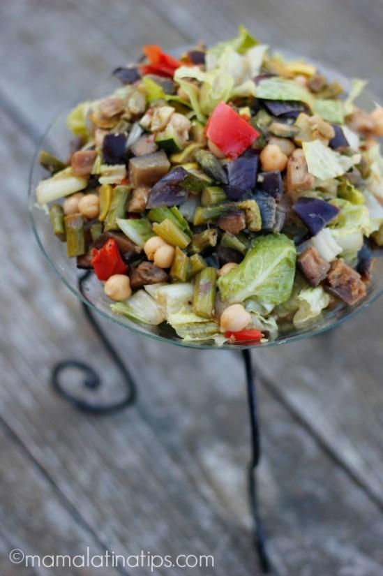 Eggplant & chickpea salad - mamalatinatips.com