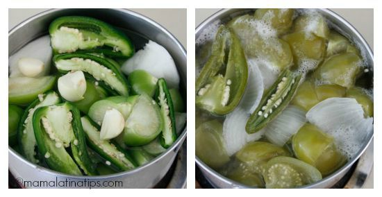 Tomatillos, serrano chiles and onions