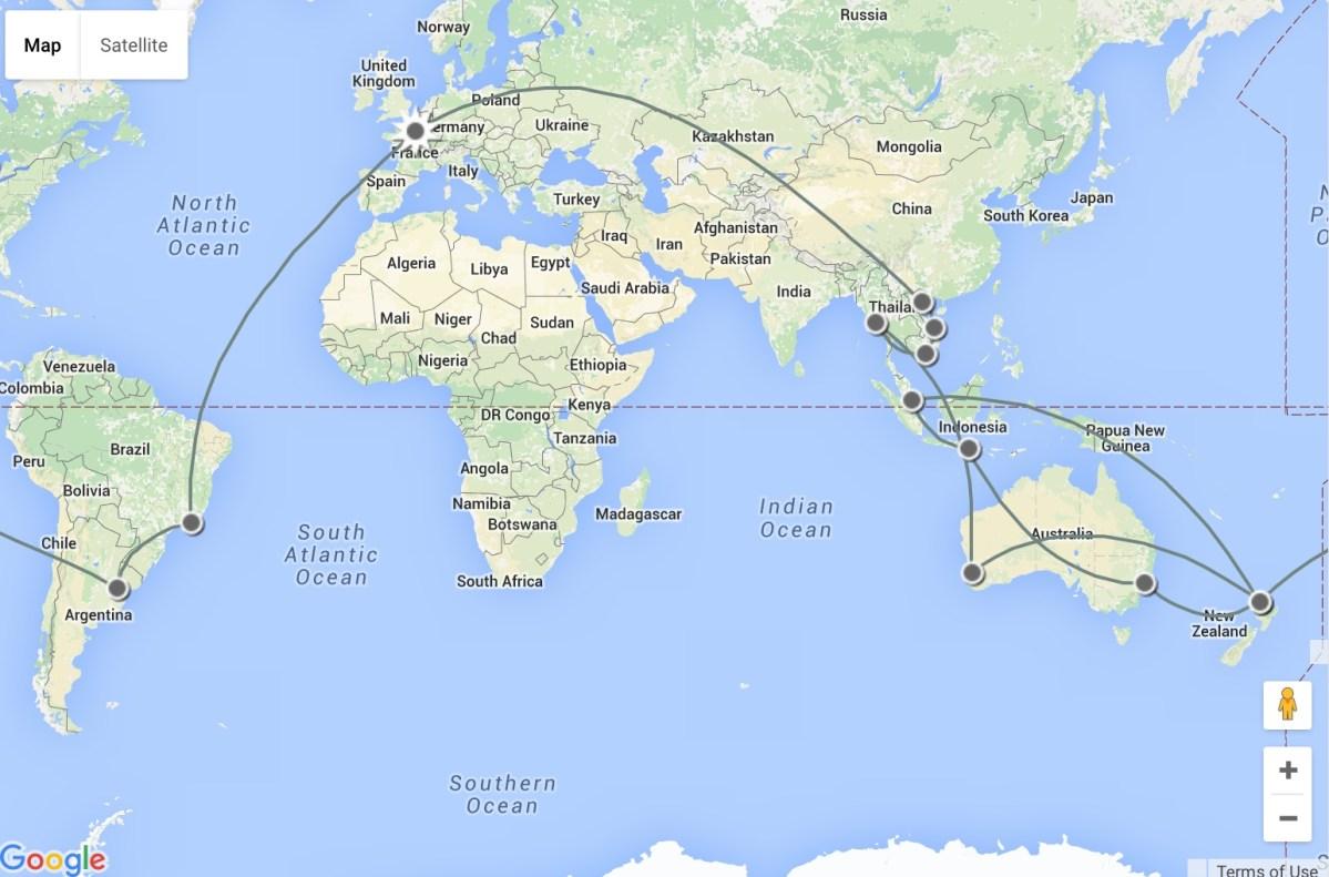 Itinéraire de notre Tour du Monde avec enfants