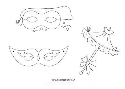 Tante maschere di Carnevale da colorare in festa carnevale