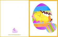 Biglietti auguri per Pasqua: uovo con pulcino
