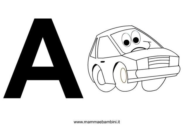 Lettere dellalfabeto con disegni: A in alfabetiere e numeri
