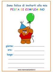 Biglietto invito compleanno da stampare con orso