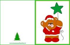 Biglietto auguri Natale da stampare, orso con stella