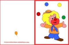 Biglietti auguri compleanno: clown con palline