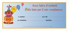 Biglietti invito per compleanno: clown con palloncini