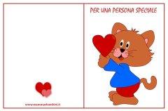 Biglietti da stampare San Valentino:gatto con cuori