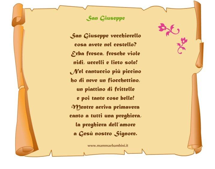 Poesia San Giuseppe su pergamena in poesie preghiere e testi festa del papa