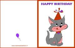 Biglietto auguri compleanno: gatto con cappellino