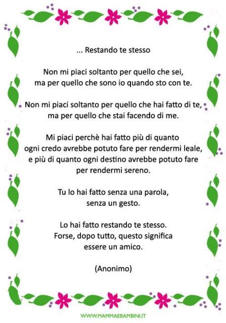 Poesia con cornice sullamicizia da stampare in poesie preghiere e testi