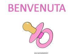 Disegno nascita bambina con scritta Benvenuta