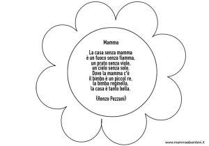 Fiore con poesia sulla mamma da colorare