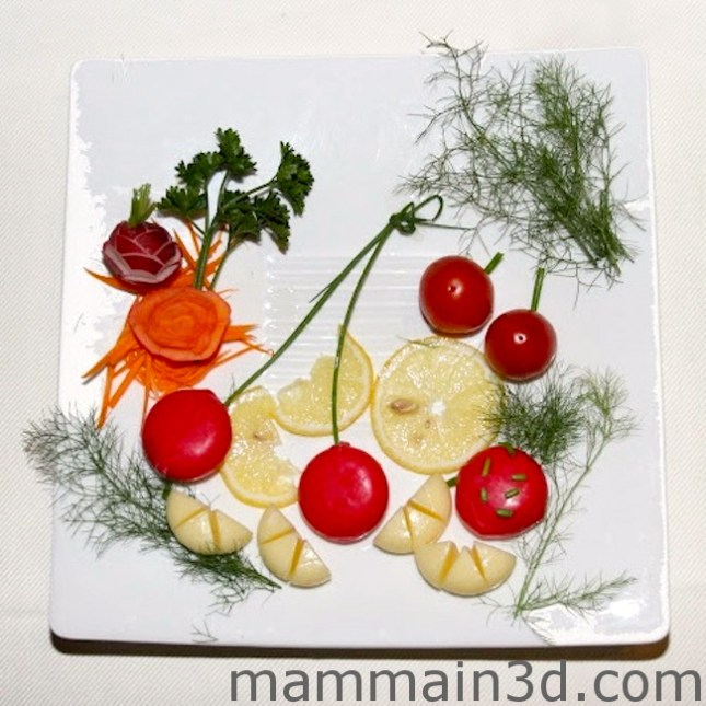 Cena Babybel: decorazione piatti