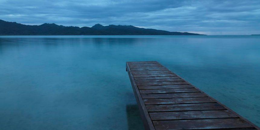 Tranquility. Lonely Pier towards Tahaa Island