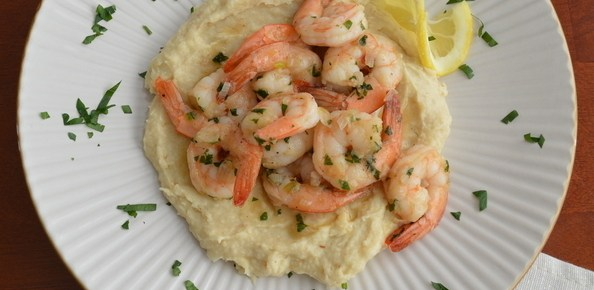 Shrimp Sauté over Cauliflower-Potato Mash