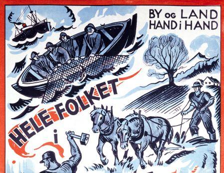 By og land, hand i hand: Arbeiderpartiets valgplakat fra 1933.
