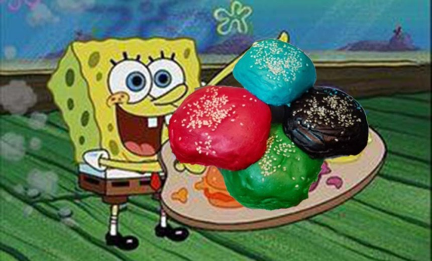They only have four colors as of now -- blue, black, red, and green. (Photo from Spongebob Squarepants Patty Hype Episode / Nickelodeon)