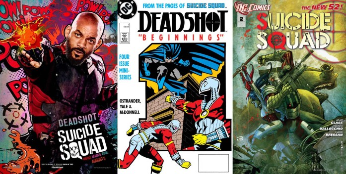 (L to R): Will Smith as Deadshot in 'Suicide Squad' movie (2016), Deadshot comic book cover (November 1988) and Deadshot in the Suicide Squad Most Wanted cover (June 2016).