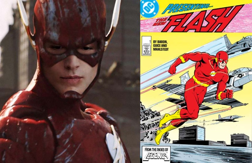 Left: Ezra Miller as The Flash; Right: The Flash (1987)