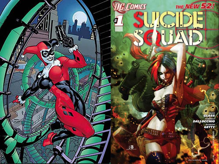 Left: Cover of Harley Quinn #1 (Dec. 2000); Right: Cover of Suicide Squad #1 (Nov. 2011)