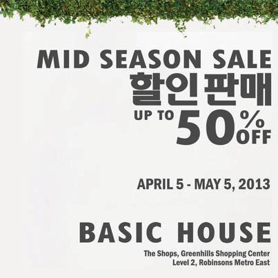 Basic House Mid Season Sale April - May 2013
