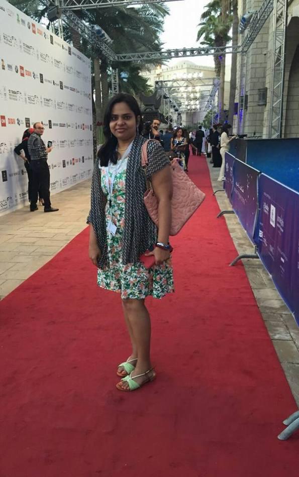 Posing at Red Carpet, Dubai International Film festival, Indian blogger