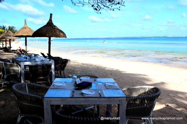 View from my table, Le Palmier, Mauritius, Le Telfair