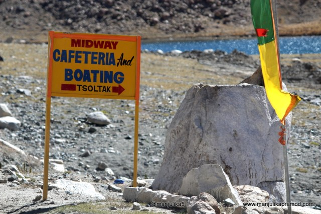 Midway Cafeteria and Boating on the way to Pangong Lake