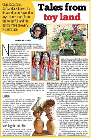 Sakal Times, Toymakers, Toyland, Channapatna