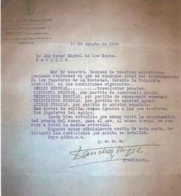 Contrato de César Miguel de los Reyes 1928