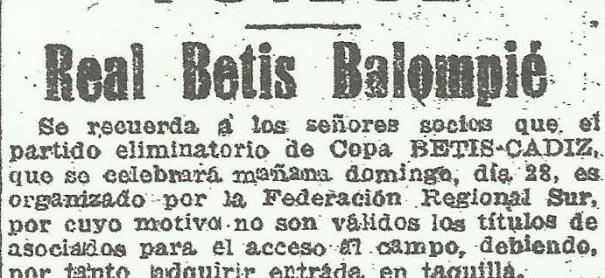 1947-Diciembre 28-CptoEspaña.-Real Betis Balompié-5 Cádiz Cf-0.-68Aniversario.