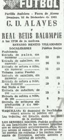 1961-Diciembre 10-Amistoso.-Real Betis Balompié-6 CD Alavés-2.-54Aniversario.