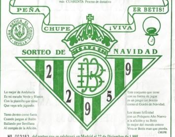 Lotería Peña Bética El Chupe 1995